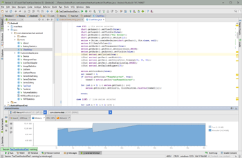 TeeChart Java for Android being used in Android Studio. The TeeChart Library is 100% native Java Android.